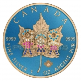 Canada 2019 5$ Maple Leaf - Family Day 1 Oz Bejeweled Silver Coin