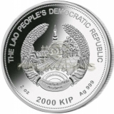 Laos 2020 2000 Kip Lunar Year of the RAT Jade 2oz